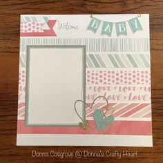 Baby Girl Scrapbook, Baby Scrapbook Pages, Scrapbook Paper Crafts, Scrapbook Cards, 8x8 Scrapbook Layouts, Scrapbook Sketches, Scrapbook Templates, Picture Layouts, Baby Album