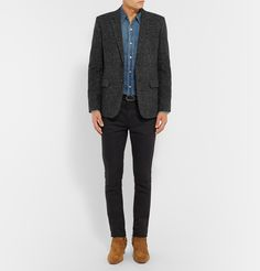 Woven with a sophisticated tonal-grey Prince of Wales check, <a href='http://www.mrporter.com/mens/Designers/Saint_Laurent'>Saint Laurent</a>'s blazer is a dapper choice for a myriad of occasions. Skilfully tailored in Italy from tactile wool-blend tweed, this piece is finished with smooth leather elbow patches and padded shoulders, giving it a sharp profile and structure. This slim-cut style is lined in lustrous silk so it slips on easily over layers. Try yours with a navy poplin shirt, or…