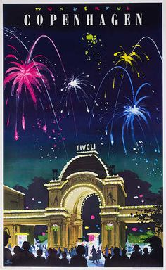 Copenhagen vintage travel poster,  1965. Tivoili Gardens Fireworks, designed by Des Asmussen