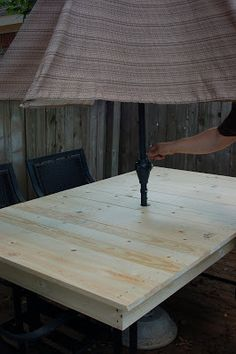 DIYP-ReCreating a Patio Table - Kristen Welch We love being in our backyard. I use it like an extra room in our house, nearly year round. It's like a giant playroom. Only it has more ants. I bought ou Table Top Covers, Outdoor Table Tops, Wooden Outdoor Table, Outdoor Life, Outdoor Decor, Gazebo, Wooden Patios, Wooden Table Top, Diy Patio