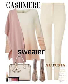 """""""Cozy Cashmere Sweater in  Pastel Powdery Blush"""" by ellie366 ❤ liked on Polyvore featuring Phase Eight, Joie, L.K.Bennett, NARS Cosmetics, Bobbi Brown Cosmetics, blush, pastels, cashmere, fallstyle and fallsweaters"""