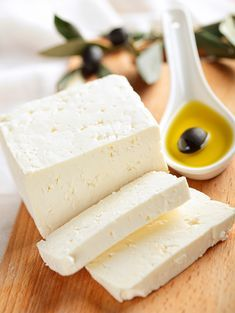 Feta cheese with olives. Feta cheese with black olives in olive oil , Greek Cheese, Queso Feta, Spinach Pie, Gourmet Cheese, Phyllo Dough, How To Make Cheese, Making Cheese, Homemade Cheese, Mediterranean Dishes