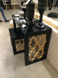 Black and gold console at High Point Market spring 2014
