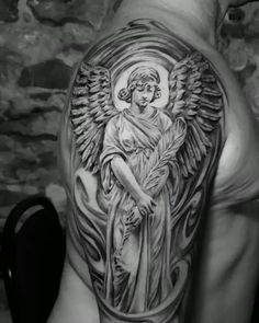Montreal Angel realism tattoo by Dylan C - black and grey Angel realism tattoo by Montreal realism tattoo artist Dylan C - Half Sleeve Tattoo Stencils, Half Sleeve Tattoos For Guys, Chest Tattoos For Women, Viking Tattoo Symbol, Viking Tattoos, Skull Rose Tattoos, Body Art Tattoos, Dragon Tattoos, Tattoo Design Drawings
