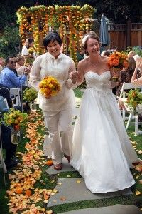 Daphne and Gina's lesbian wedding was awash in rich, fall colors.
