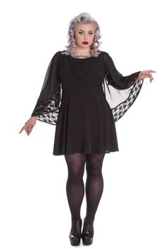 Spin Doctor Plus Size Bewitched Black Moon & Stars Sheer Lace Wing Sleeves Black Dress