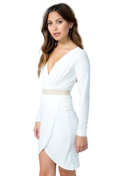 Elastic Drape Surplice Dress