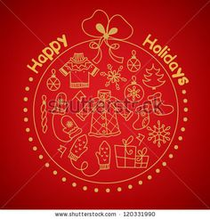 Greeting card with christmas ball - stock vector