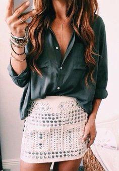 #thanksgiving #fashion · Blouse Satin Shirt // Studded Skirt