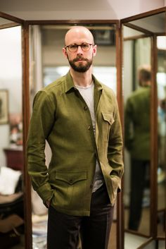 """linen safari jacket Budd """"Indeed, a safari jacket is really a misnomer – it is just a shirt made from particularly heavy cloth, and cut to fit over another shirt."""""""