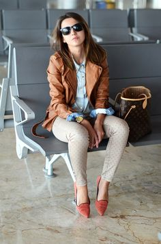 shades + leather + chambray + oatmeal + those shoessss