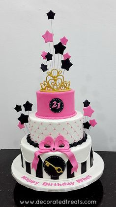 Pink Starry 21st Birthday Cake Tutorial