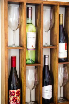 From my husband's woodshop - On SALE - Wall Mounted Staggered Wine Rack with Wine Glass by WoodChops