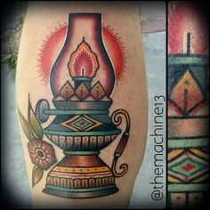 Traditional antique lantern tattoo by Zack Taylor at Evermore Tattoo Company in Los Angeles, CA