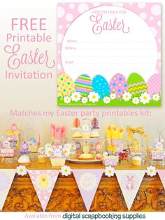 FREE printable square #Easter party invitation, which matches a kit with printable Easter party supplies, such as Easter baskets, placecards, napkin rings, drink labels, cupcake toppers and banner flags.