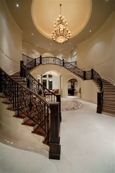 Beautiful wood and marble stairs.