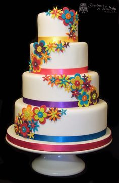 Our new Funky Neon Bright Wedding Cake