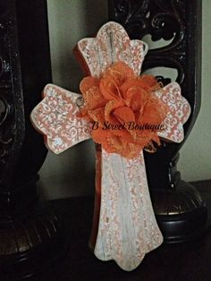 Orange & White Design Wooden Wall Cross on Etsy, $11.00