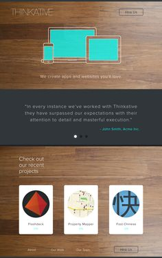 Thinkative Landing Page; I really love the use of texture in this one.