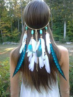 La princesse turquoise  plume bandeau native par dieselboutique