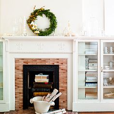 This crafty wreath makes for a stylish mantle-topper