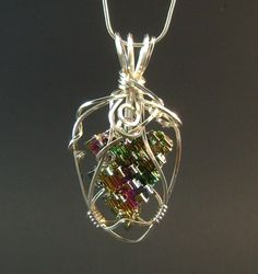 Rainbow bismuth crystal pendant necklace silver by FeathersnThingz