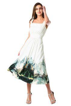 Landscape print crepe banded empire dress #eShakti