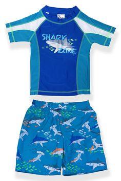 20003c358c Boys Blue Shark Zone Rash Guard Set – Jump'N Splash Kids Swimwear