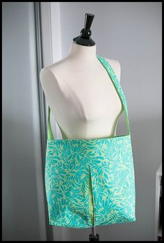 Peek Bag - Floral Turquoise and Green Sketch on Etsy, $40.00
