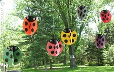 Swirling Twirling Ladybugs...these would be so cute for a birthday party!