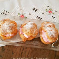 Edels Mat & Vin: Vannbakkels med bringebærkrem ♥ Letterpress Printing, Muffin, Food And Drink, Bread, Baking, Breakfast, Sweet, Easy, Desserts