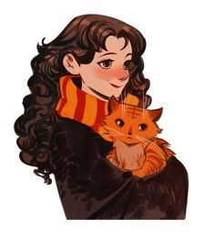 Hermione and her cat Blaise Harry Potter, Mundo Harry Potter, Harry Potter Magic, Harry Potter Universal, Harry Potter World, Hermione Fan Art, Harry Potter Hermione, Ginny Weasley, Hermione Granger Drawing