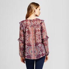 1a9df0318de88 Women s Printed Ruffle Trim Woven Blouse - Knox Rose Merlot XS