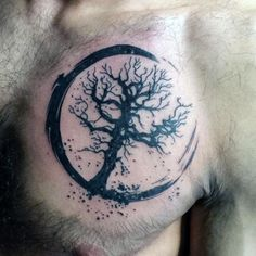 Tree Of Life Male Small Chest Tattoos