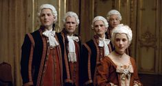 "Still from the 2010 French film, ""Mozart's Sister"", featuring The Dauphin's love interest and liveried servants at the palace."