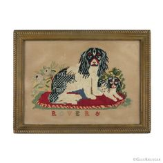 """""""ROVER &"""". Wonderful wool needlework depicting a pair of Cavalier King Charles spaniels resting on a tufted pillow. One dog sitting upright and the other resting alongside, with foliage behind. Likely adapted from a Berlin wool work pattern. 16 holes per inch. Cavalier King Charles Dog, Charles Spaniel, Bristol Board, Folk Art, Needlework, Berlin, Spaniels, Wool, Pillows"""