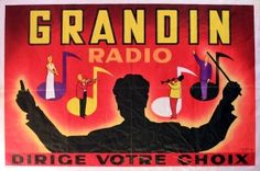Grandin Radio, 1950s - original vintage poster by P. Dumont listed on AntikBar.co.uk