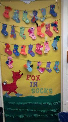 Annes door at school. fox in socks.