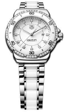TAG Heuer Formula 1 Lady Steel & White Ceramic Watch with Diamond Bezel & Dial - Jewelers Trade Shop, Pensacola FL Tag Watches, Cool Watches, Ladies Watches, Fossil Watches, Tag Heuer Formula, Beautiful Watches, Watch Brands, Luxury Watches, Quartz Watch