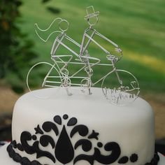 Personalized Bicycle Built for Two Wedding Cake Topper
