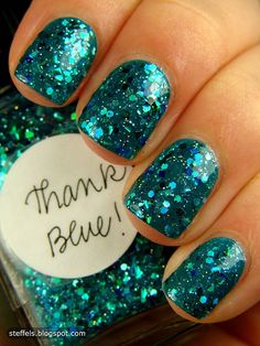 """Two coats of Lynnderella - Thank Blue over DtW DJ Mix.     """"Turquoise, blue, teal, green...extraordinary.  It conjures up images of a twinkling ocean surrounding a beautiful island somewhere in paradise...and mermaids."""""""
