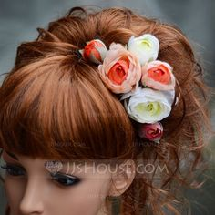[NOK 44] Beautiful Artificial Silk Hairpins/Flowers & Feathers(Set of 3) (042068644)