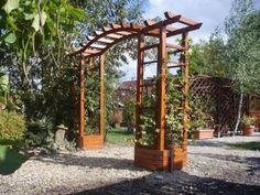 Practical: build planters along perimeter Aluminum Pergola, Gate Design, Home Projects, Shed, Backyard, Outdoor Structures, Building, Trellis Ideas, Gardening