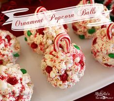 Popcorn balls are an all time family favorite in our house. And these little Ornament Popcorn Balls are super fun and easy to make with the kiddos! Christmas Popcorn, Christmas Snacks, Holiday Treats, Christmas Baking, Holiday Recipes, Christmas Recipes, Christmas Cookies, Christmas Time, Merry Christmas