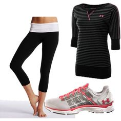 under armour shirt, victoria secret yoga crops, and under armour shoes..