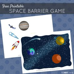 Free printable outer space themed barrier game for speech therapy - great for kids with autism and hyperlexia from And Next Comes L