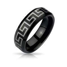 Bling Jewelry Black Greek Key Design Tungsten Ring 8mm ($20) ❤ liked on Polyvore featuring jewelry, rings, black, black band wedding rings, wedding rings, tungsten rings, band rings and grecian jewelry