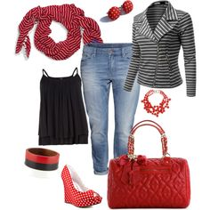 """Red/gray/black"" by gchamama on Polyvore"