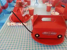 Red Wagon party packs Birthday Stuff, Birthday Board, 1st Birthday Parties, 4th Birthday, Birthday Ideas, Red Wagon Party, Party Themes, Party Ideas, Little Red Wagon