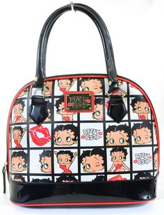 Betty Boop Face Kisses AOP Quilt Black White Patent Handbag Purse by Loungefly